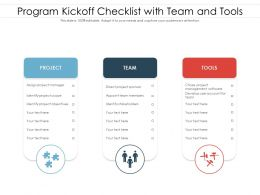 Program Kickoff Checklist With Team And Tools