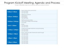 Program Kickoff Meeting Agenda And Process