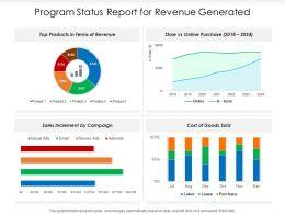 Program Status Report For Revenue Generated