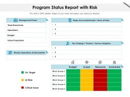 Program Status Report With Risk