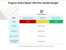 Program Status Report With Time Quality Budget