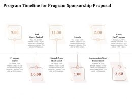 Program Timeline For Program Sponsorship Proposal Ppt Powerpoint Presentation Model