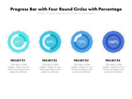 Progress Bar With Four Round Circles With Percentage