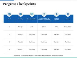 Progress Checkpoints Ppt Infographics Outfit