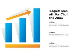 Progress Icon With Bar Chart And Arrow