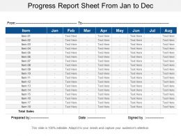 Progress Report Sheet From Jan To Dec