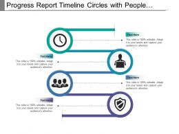 Progress Report Timeline Circles With People And Clock Image