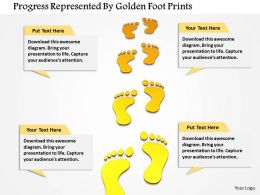 Progress Represented By Golden Foot Prints Image Graphics For Powerpoint