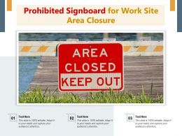 Prohibited Signboard For Work Site Area Closure