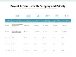 Project Action List With Category And Priority