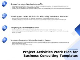 Project Activities Work Plan For Business Consulting Templates Ppt Infographics