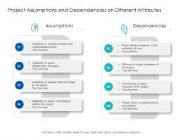 Project Assumptions And Dependencies On Different Attributes