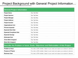 Project Background With General Project Information Problem Purpose Business