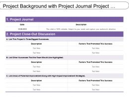 Project Background With Project Journal Project Close Out
