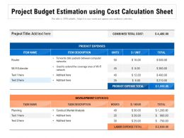 Project Budget Estimation Using Cost Calculation Sheet