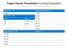 Project Charter Presentation Including Deliverables