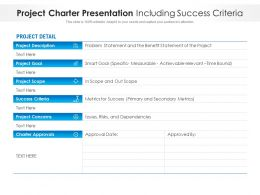Project Charter Presentation Including Success Criteria