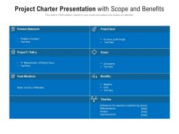 Project Charter Presentation With Scope And Benefits