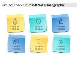 Project Checklist Post It Notes Infographic