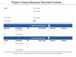 Project Closure Business Document Include Result And Objective Achievements Detail