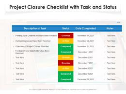 Project Closure Checklist With Task And Status