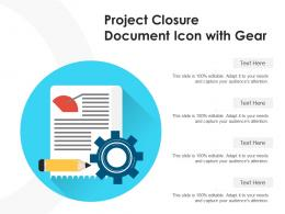 Project Closure Document Icon With Gear