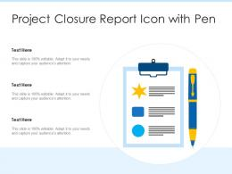 Project Closure Report Icon With Pen