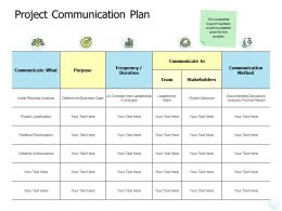 Project Communication Plan Method Ppt Powerpoint Presentation Graphic Images