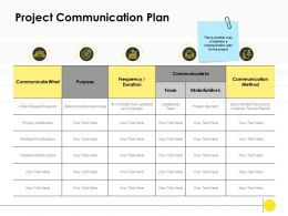 Project Communication Plan Purpose Ppt Powerpoint Presentation Icon Visuals