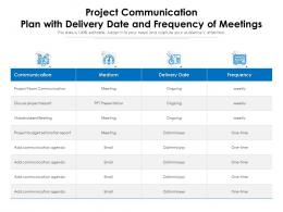 Project Communication Plan With Delivery Date And Frequency Of Meetings