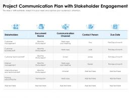 Project Communication Plan With Stakeholder Engagement