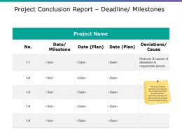 Project Conclusion Report Deadline Milestones Powerpoint Templates Download