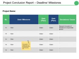 Project Conclusion Report Deadline Milestones Ppt Infographic Template Portrait