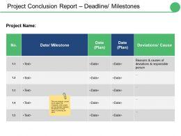 Project Conclusion Report Deadline Milestones Ppt Infographic Template Portrait
