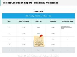 Project Conclusion Report Deadline Milestones Ppt Infographics Icons