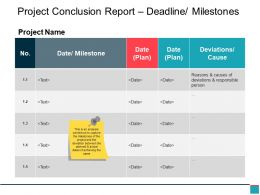 Project Conclusion Report Deadline Milestones Ppt Slide Show