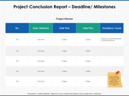 Project Conclusion Report Deadline Milestones Table Powerpoint Presentation File
