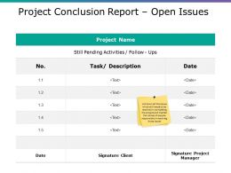 Project Conclusion Report Open Issues Powerpoint Themes
