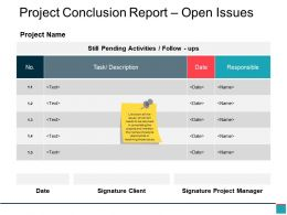 Project Conclusion Report Open Issues Ppt Design