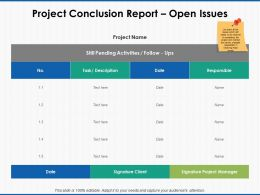 Project Conclusion Report Open Issues Project Manager Ppt Powerpoint Icon Slides