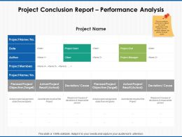 Project Conclusion Report Performance Analysis Planned Project Ppt Powerpoint Slides