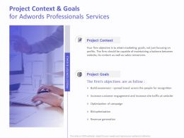 Project Context And Goals For AdWords Professionals Services Ppt Gallery