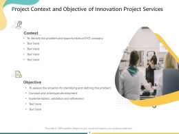 Project Context And Objective Of Innovation Project Services Ppt Powerpoint Presentation Show Smartart