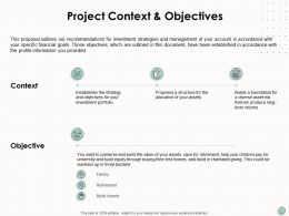 Project Context And Objectives Build Assets Ppt Powerpoint Presentation Icon Skills