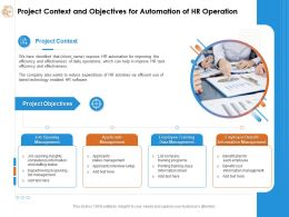 Project Context And Objectives For Automation Of Hr Operation Status Management Ppt Presentation Show