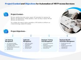 Project Context And Objectives For Automation Of HR Process Services Ppt Clipart
