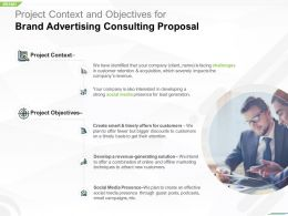 Project Context And Objectives For Brand Advertising Consulting Proposal Ppt Slide