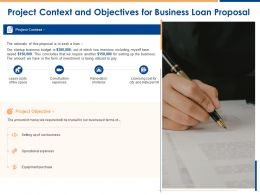 Project Context And Objectives For Business Loan Proposal Ppt Powerpoint Presentation Background
