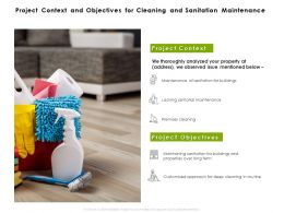 Project Context And Objectives For Cleaning And Sanitation Maintenance Ppt Slide