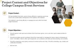 Project Context And Objectives For College Campus Event Services Ppt Icon Background